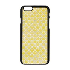 Scales2 White Marble & Yellow Watercolor Apple Iphone 6/6s Black Enamel Case by trendistuff