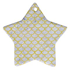 Scales1 White Marble & Yellow Watercolor (r) Ornament (star) by trendistuff