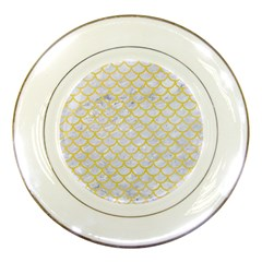 Scales1 White Marble & Yellow Watercolor (r) Porcelain Plates by trendistuff