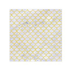 Scales1 White Marble & Yellow Watercolor (r) Small Satin Scarf (square) by trendistuff