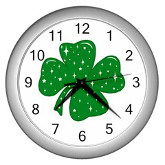 Sparkly Clover Wall Clocks (silver)  by Valentinaart