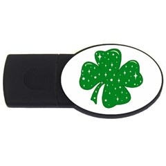 Sparkly Clover Usb Flash Drive Oval (4 Gb) by Valentinaart
