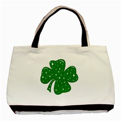Sparkly Clover Basic Tote Bag by Valentinaart