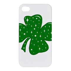 Sparkly Clover Apple Iphone 4/4s Premium Hardshell Case by Valentinaart