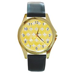 Royal1 White Marble & Yellow Watercolor (r) Round Gold Metal Watch by trendistuff