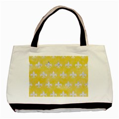 Royal1 White Marble & Yellow Watercolor (r) Basic Tote Bag by trendistuff