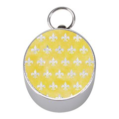 Royal1 White Marble & Yellow Watercolor (r) Mini Silver Compasses by trendistuff