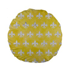 Royal1 White Marble & Yellow Watercolor (r) Standard 15  Premium Flano Round Cushions by trendistuff