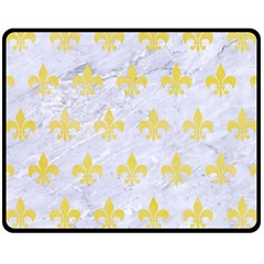 Royal1 White Marble & Yellow Watercolor Fleece Blanket (medium)  by trendistuff