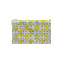 Puzzle1 White Marble & Yellow Watercolor Cosmetic Bag (xs) by trendistuff