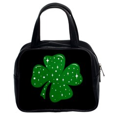 Sparkly Clover Classic Handbags (2 Sides) by Valentinaart