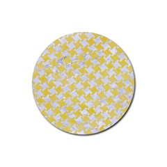 Houndstooth2 White Marble & Yellow Watercolor Rubber Round Coaster (4 Pack)  by trendistuff