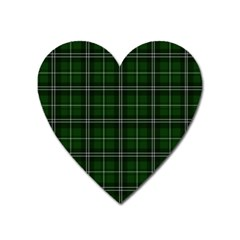 Green Plaid Pattern Heart Magnet by Valentinaart