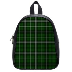 Green Plaid Pattern School Bag (small) by Valentinaart