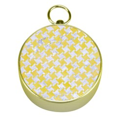 Houndstooth2 White Marble & Yellow Watercolor Gold Compasses by trendistuff