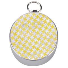 Houndstooth2 White Marble & Yellow Watercolor Silver Compasses by trendistuff
