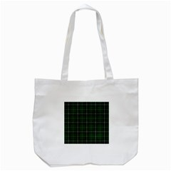 Green Plaid Pattern Tote Bag (white) by Valentinaart