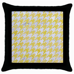 Houndstooth1 White Marble & Yellow Watercolor Throw Pillow Case (black) by trendistuff