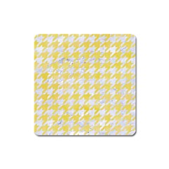 Houndstooth1 White Marble & Yellow Watercolor Square Magnet by trendistuff