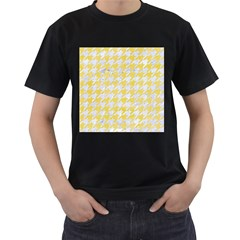 Houndstooth1 White Marble & Yellow Watercolor Men s T Shirt (black) (two Sided)