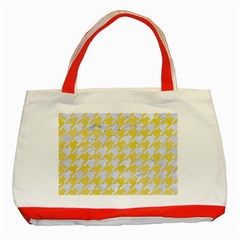 Houndstooth1 White Marble & Yellow Watercolor Classic Tote Bag (red) by trendistuff