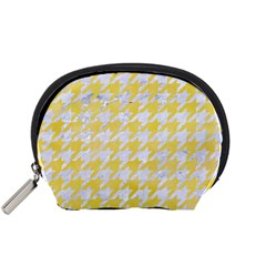 Houndstooth1 White Marble & Yellow Watercolor Accessory Pouches (small)  by trendistuff