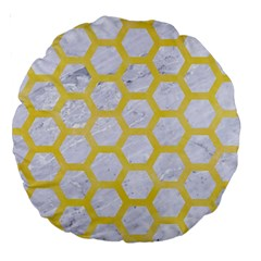 Hexagon2 White Marble & Yellow Watercolor (r) Large 18  Premium Round Cushions by trendistuff