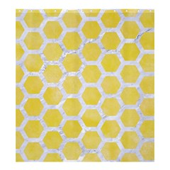 Hexagon2 White Marble & Yellow Watercolor Shower Curtain 66  X 72  (large)  by trendistuff