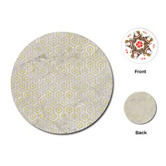 Hexagon1 White Marble & Yellow Watercolor (r) Playing Cards (round)  by trendistuff
