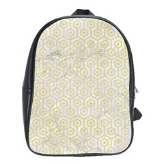 Hexagon1 White Marble & Yellow Watercolor (r) School Bag (large) by trendistuff