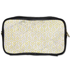 Hexagon1 White Marble & Yellow Watercolor (r) Toiletries Bags 2 Side by trendistuff