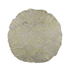 Hexagon1 White Marble & Yellow Watercolor (r) Standard 15  Premium Flano Round Cushions by trendistuff