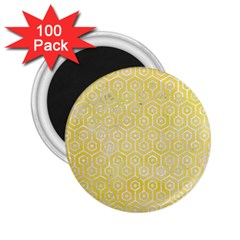 Hexagon1 White Marble & Yellow Watercolor 2 25  Magnets (100 Pack)  by trendistuff