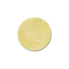 Hexagon1 White Marble & Yellow Watercolor Golf Ball Marker by trendistuff