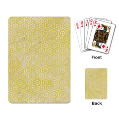 Hexagon1 White Marble & Yellow Watercolor Playing Card by trendistuff