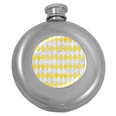 Diamond1 White Marble & Yellow Watercolor Round Hip Flask (5 Oz) by trendistuff