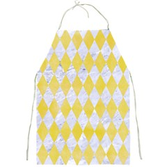 Diamond1 White Marble & Yellow Watercolor Full Print Aprons by trendistuff