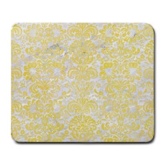 Damask2 White Marble & Yellow Watercolor (r) Large Mousepads by trendistuff