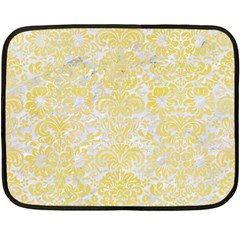 Damask2 White Marble & Yellow Watercolor (r) Double Sided Fleece Blanket (mini)  by trendistuff