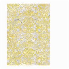 Damask2 White Marble & Yellow Watercolor (r) Small Garden Flag (two Sides) by trendistuff