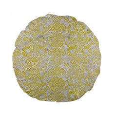 Damask2 White Marble & Yellow Watercolor (r) Standard 15  Premium Flano Round Cushions by trendistuff