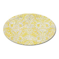Damask2 White Marble & Yellow Watercolor Oval Magnet by trendistuff