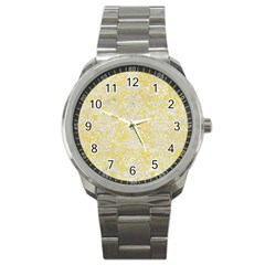 Damask2 White Marble & Yellow Watercolor Sport Metal Watch by trendistuff
