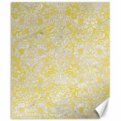 Damask2 White Marble & Yellow Watercolor Canvas 20  X 24   by trendistuff