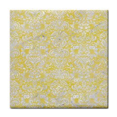 Damask2 White Marble & Yellow Watercolor Face Towel by trendistuff