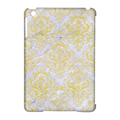 Damask1 White Marble & Yellow Watercolor (r) Apple Ipad Mini Hardshell Case (compatible With Smart Cover) by trendistuff