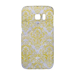 Damask1 White Marble & Yellow Watercolor (r) Galaxy S6 Edge by trendistuff
