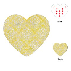 Damask1 White Marble & Yellow Watercolor Playing Cards (heart)  by trendistuff