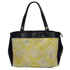 Damask1 White Marble & Yellow Watercolor Office Handbags by trendistuff