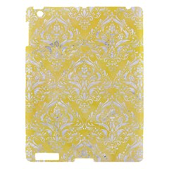 Damask1 White Marble & Yellow Watercolor Apple Ipad 3/4 Hardshell Case by trendistuff